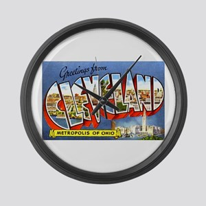 Cleveland Ohio Greetings Large Wall Clock