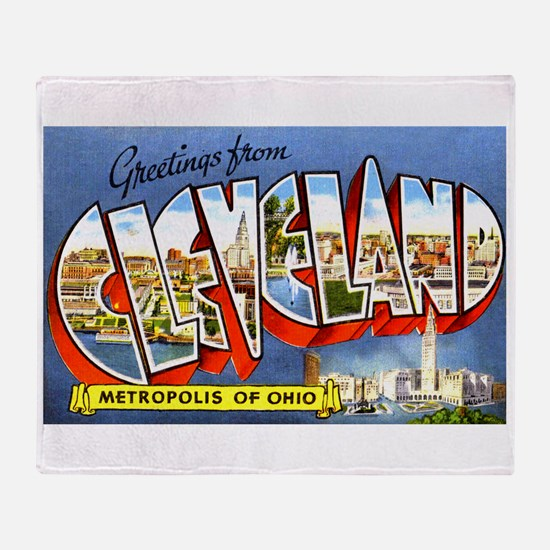 Cleveland Ohio Greetings Throw Blanket