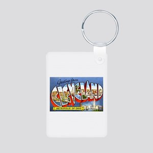 Cleveland Ohio Greetings Aluminum Photo Keychain