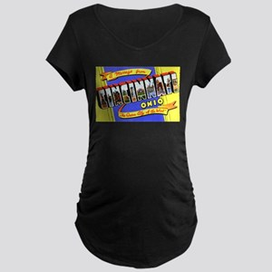 Cincinnati Ohio Greetings Maternity Dark T-Shirt