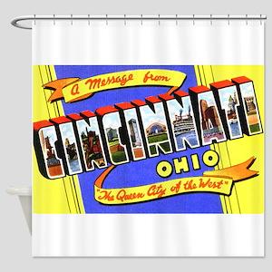 Cincinnati Ohio Greetings Shower Curtain