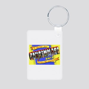 Cincinnati Ohio Greetings Aluminum Photo Keychain