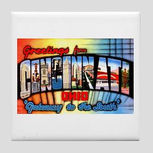 Cincinnati Ohio Greetings Tile Coaster