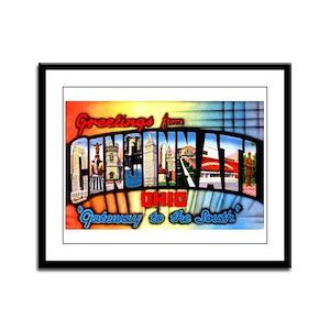 Cincinnati Ohio Greetings Framed Panel Print