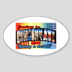 Cincinnati Ohio Greetings Sticker (Oval)