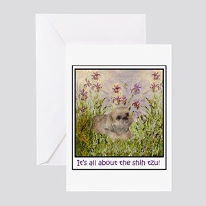 Shih Tzu Fine Art Sandy Greeting Cards (Package of