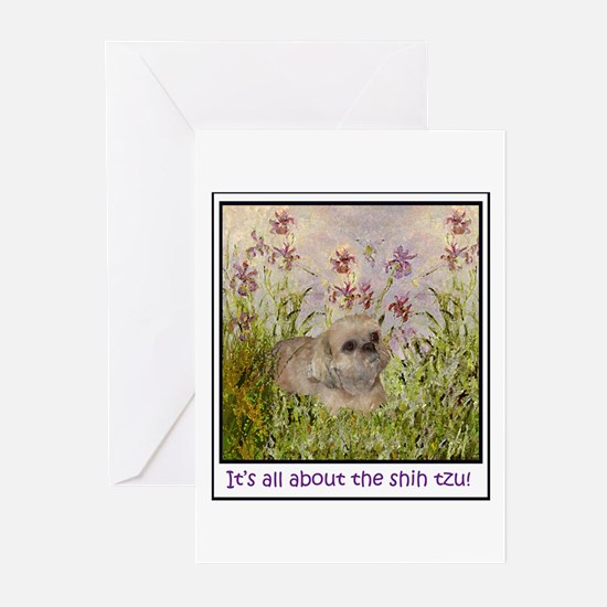 Shih Tzu Fine Art Sandy Greeting Cards (Package of