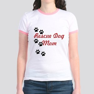 Rescue Dog Mom Jr. Ringer T-Shirt