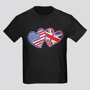 Patriotic Peace Sign and USA Flag Kids Dark T-Shir