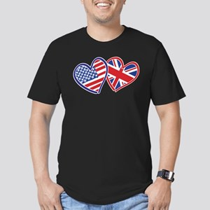 Patriotic Peace Sign and USA Flag Men's Fitted T-S