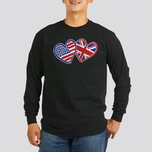 Patriotic Peace Sign and USA Flag Long Sleeve Dark