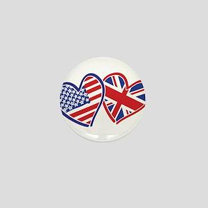 USA and UK Flag Hearts Mini Button