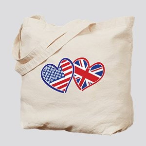 USA and UK Flag Hearts Tote Bag