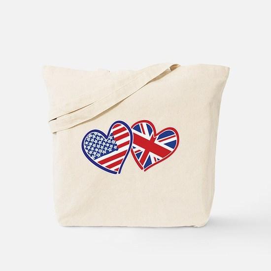 USA and UK Flag Hearts Tote Bag