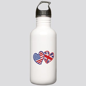 USA and UK Flag Hearts Stainless Water Bottle 1.0L