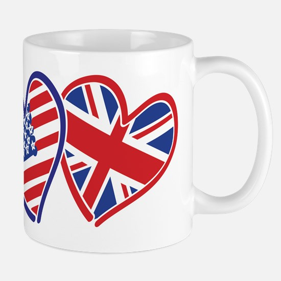 USA and UK Flag Hearts Mug