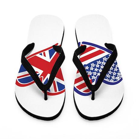 USA and UK Flag Hearts Flip Flops