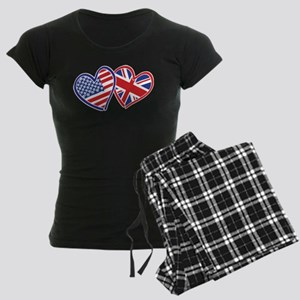 USA and UK Flag Hearts Women's Dark Pajamas