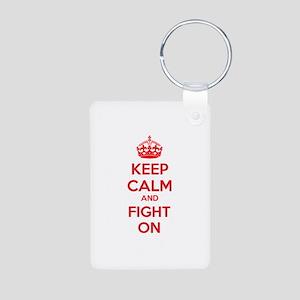 Keep calm and fight on Aluminum Photo Keychain