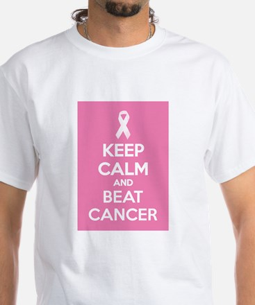 Keep calm and beat cancer White T-Shirt