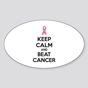 Keep calm and beat cancer Sticker (Oval)