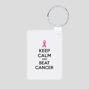 Keep calm and beat cancer Aluminum Photo Keychain