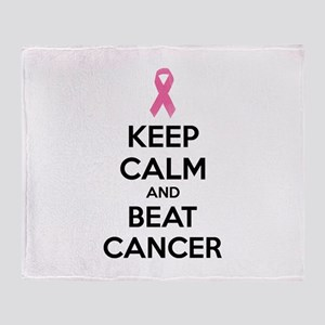 Keep calm and beat cancer Throw Blanket