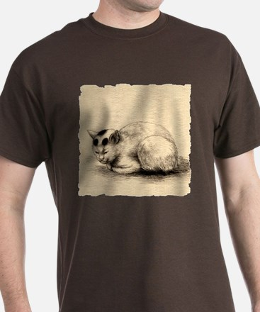 Domestic Cat Japanese Ink Drawing T-Shirt