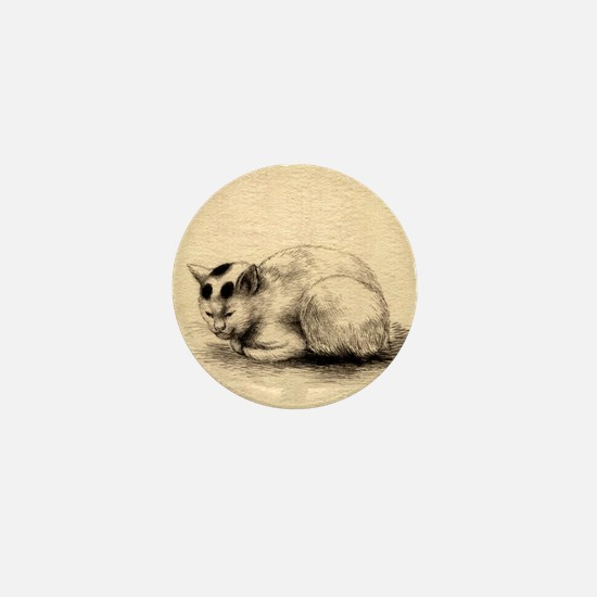 Domestic Cat Japanese Ink Drawing Mini Button