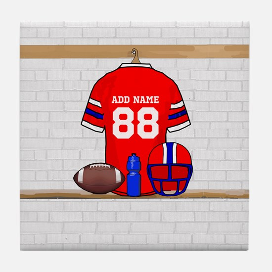 Personalized Football Grid iron jersey Tile Coaste