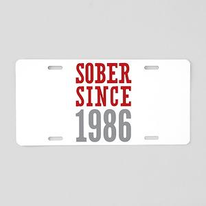 Sober Since 1986 Aluminum License Plate