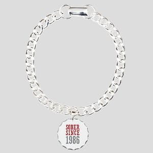 Sober Since 1986 Charm Bracelet, One Charm