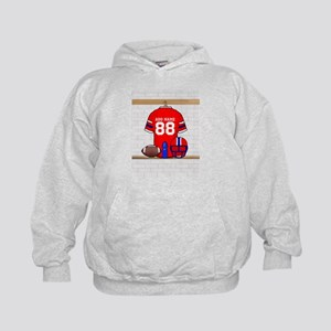 Personalized grid Iron Football jersey Kids Hoodie