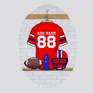 Personalized grid Iron Football jersey Ornament (O