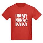 I Love My Nana and Papa Kids Dark T-Shirt