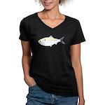 Menhaden Bunker fish Women's V-Neck Dark T-Shirt