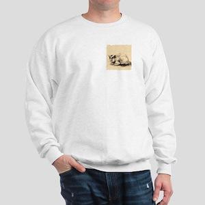 Domestic Cat Japanese Ink Drawing Sweatshirt