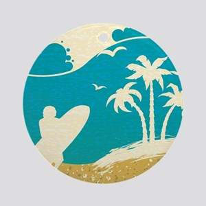 Surfer at the Beach Ornament (Round)