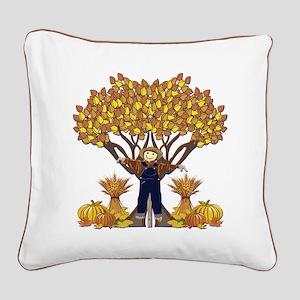 Autumn Scarecrow Square Canvas Pillow