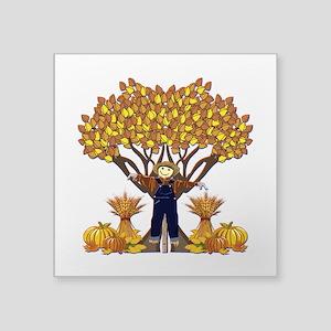 """Autumn Scarecrow Square Sticker 3"""" x 3"""""""