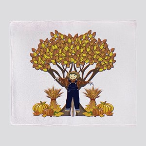 Autumn Scarecrow Throw Blanket