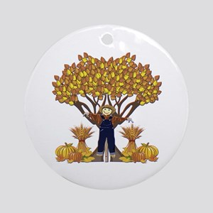 Autumn Scarecrow Ornament (Round)