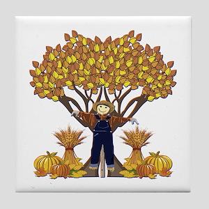 Autumn Scarecrow Tile Coaster