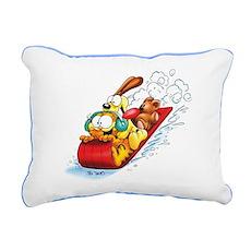 Sledding Fun! Rectangular Canvas Pillow