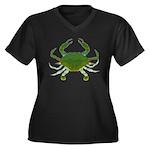 Blue Crab Women's Plus Size V-Neck Dark T-Shirt