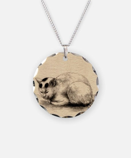 Domestic Cat Japanese Ink Drawing Necklace