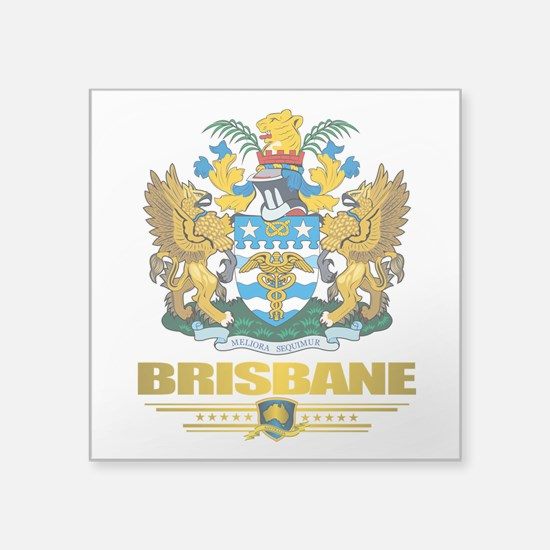 "Brisbane (Flag 10)2.png Square Sticker 3"" x 3"""