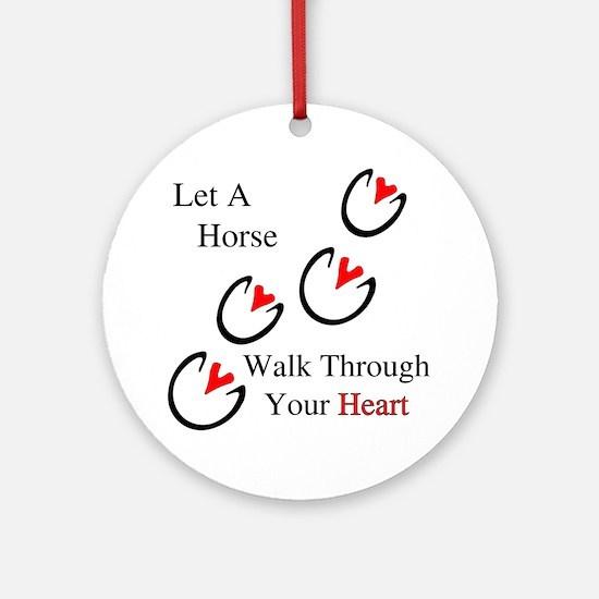 Horse Hoof Hearts Ornament (Round)