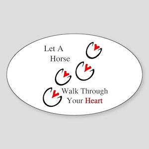 Horse Hoof Hearts Sticker (Oval)