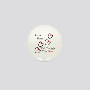 Horse Hoof Hearts Mini Button